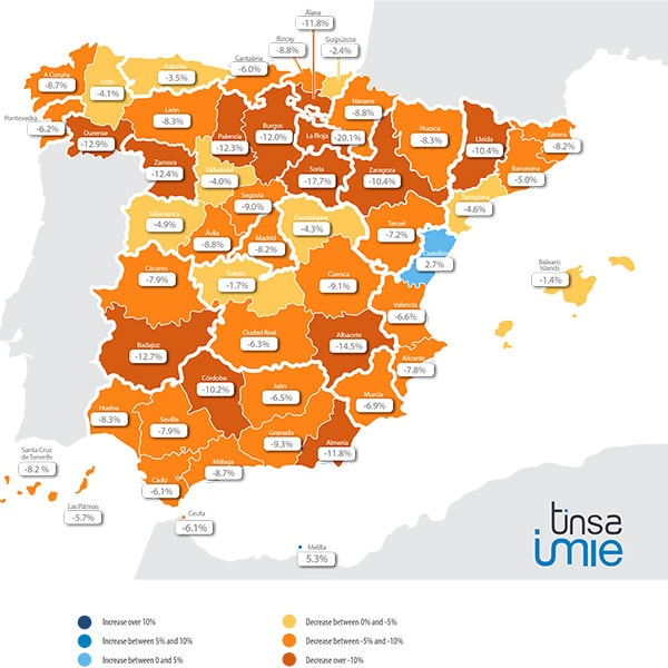 spain property prices per province